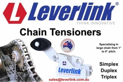 Large chain tensioners with rubber torsional spring