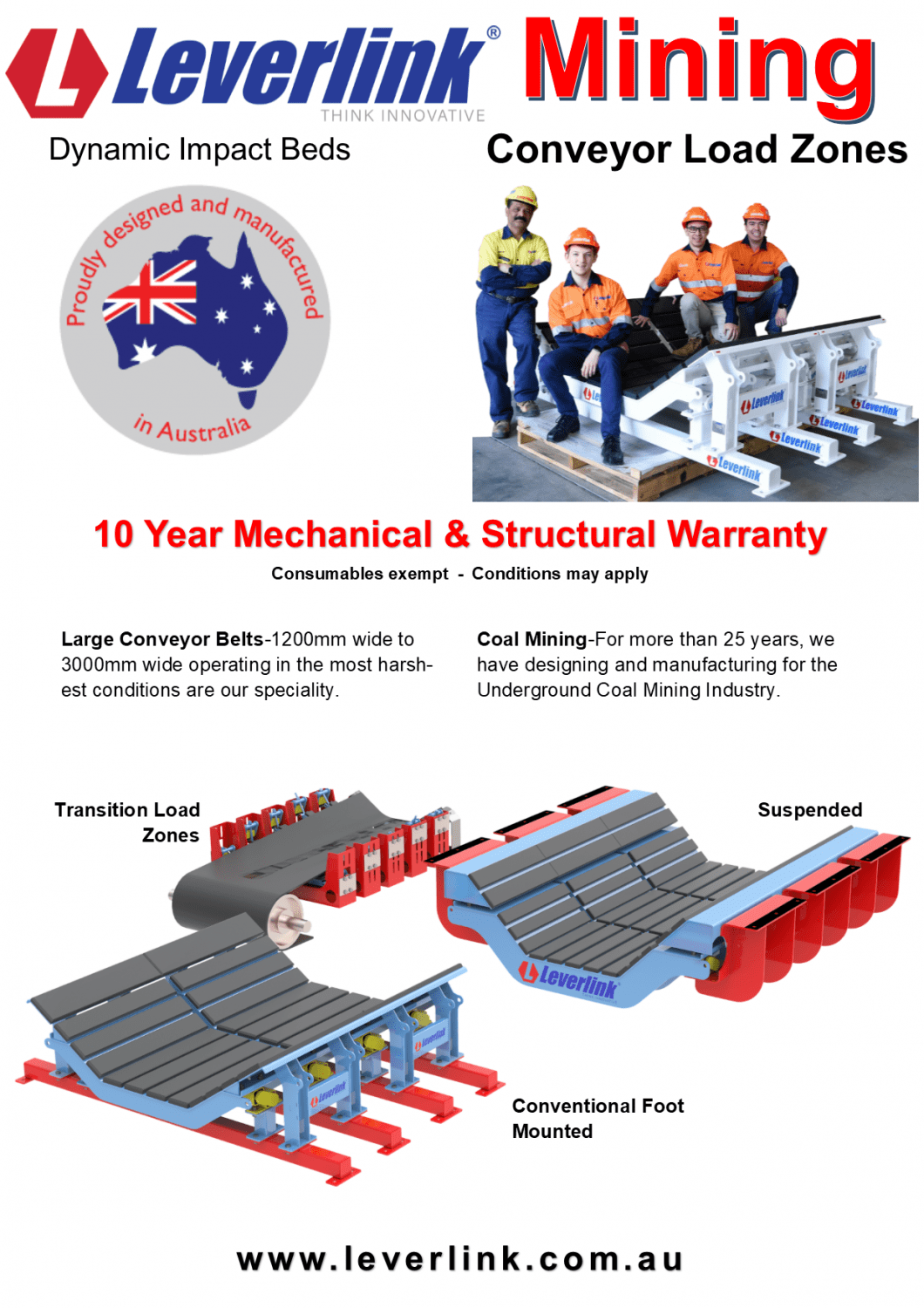 LEVERLINK Dynamic Impact Beds-Conveyors-Load zones-Transfer points-Quarry-Mining