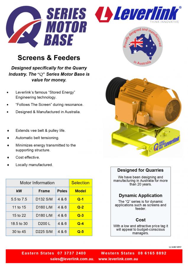 LEVERLINK-Q-Series-Motor-Base-LLS-067-0917-Quarry-Vibrating Screens-Pumps-Conveyors-perth