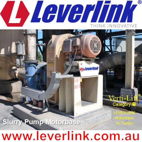 LEVERLINK self-tensioning VL series motor base being used on Slurry Pump