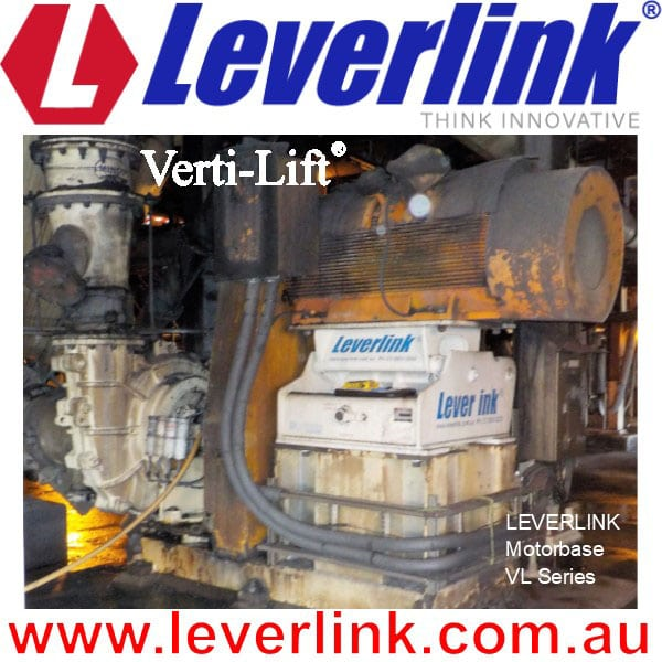 Leverlink Self Tensioning Motor Base being used on Slurry Pump