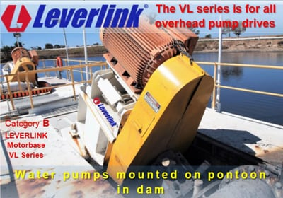 Water pumps, overhead drives, vibrating screen drives