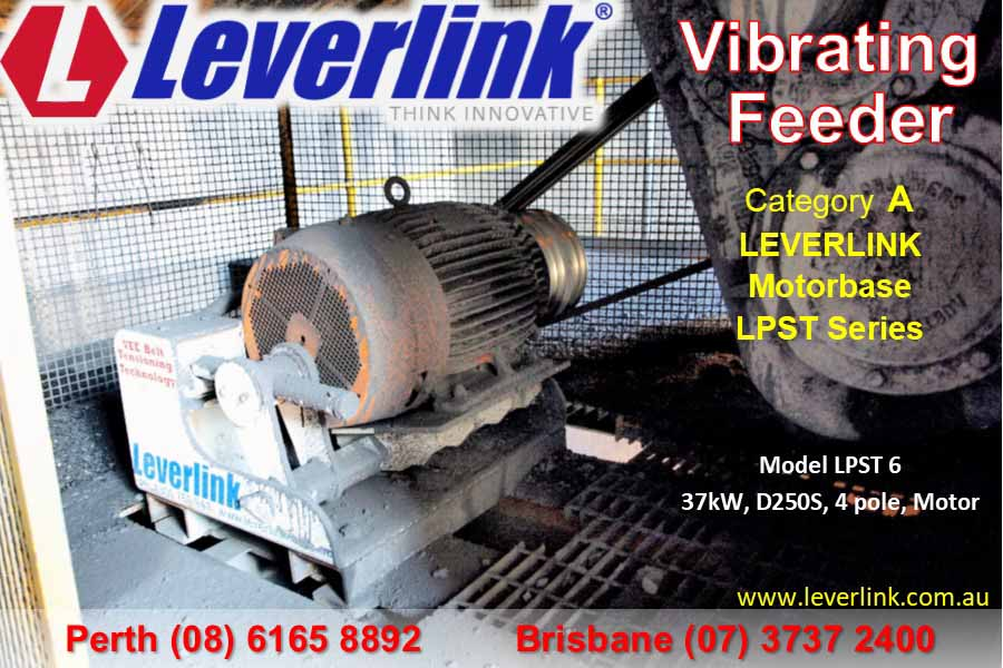 Leverlink vibrating feeder motorbase. Self tensioning. stored energy. quarry. LPST series.