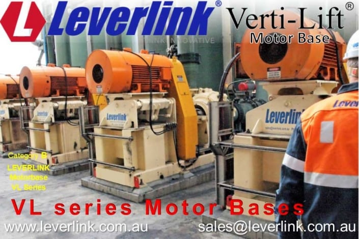 Leverlink self-tensioning Motorbase for Slurry Pump Drive